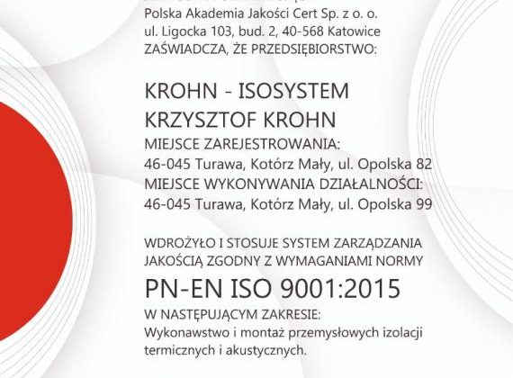 Wdrożyliśmy ISO 9001:2015